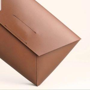 J. Crew Brown Leather Envelope Clutch